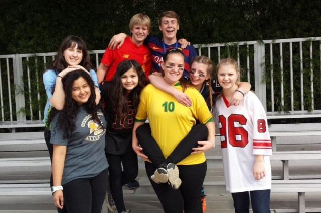 Student leadership group photo on Sports Jersey Spirit Day