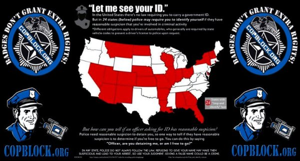 Stop and ID Statutes Map States Nevada Cop Block