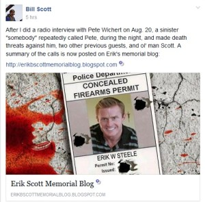 Erik Scott's father, Bill, discussing threats received after an interview.