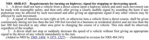 Nevada SignallingTraffic Statute NRS 484B_413
