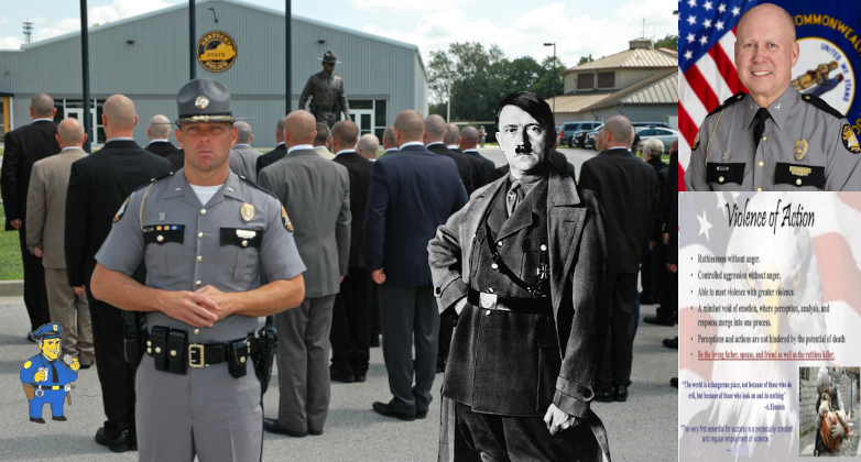 Cadet Training Manual for Kentucky State Police Academy featured Hitler Quotes