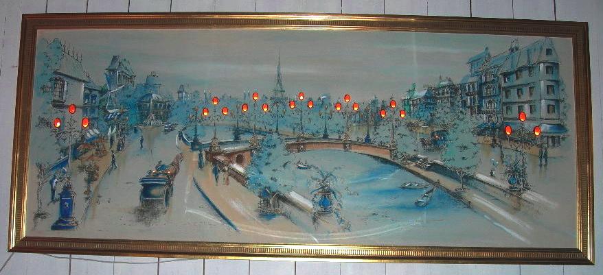 Vintage lightup painting of Paris street scene  NVISION  Cincinnati Handmade  Vintage