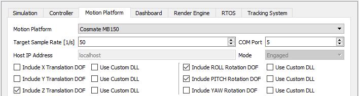 Motion Platform Settings Screenshot