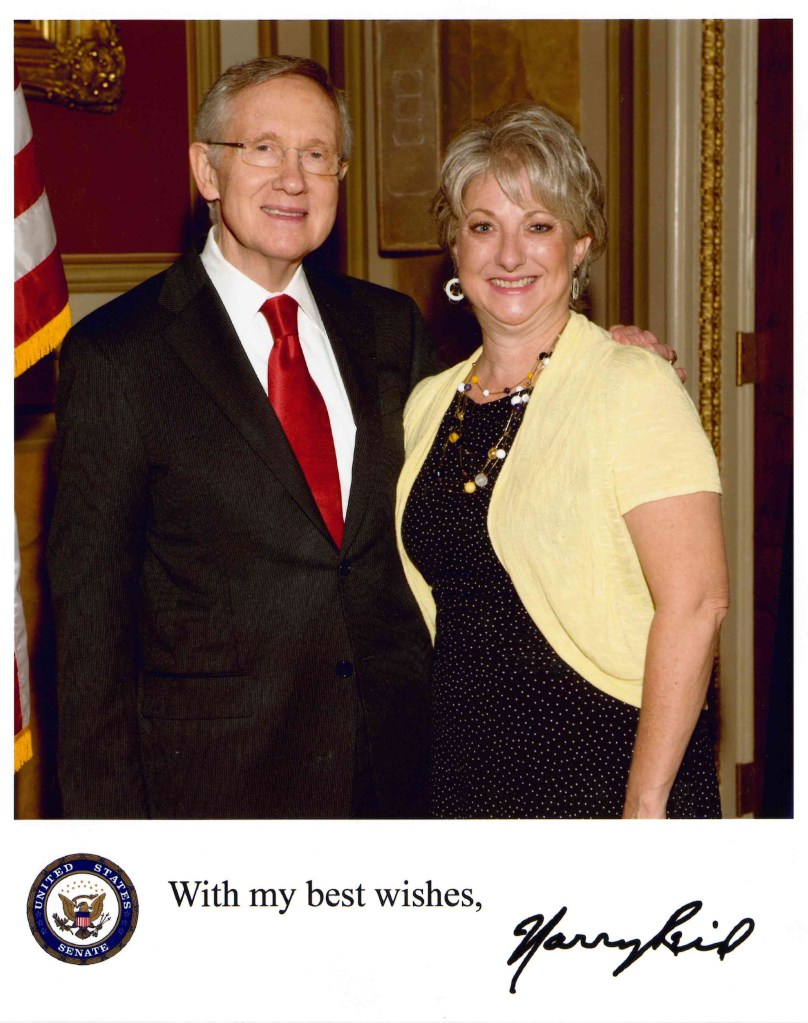 Karen Taycher with Sen. Harry Reid
