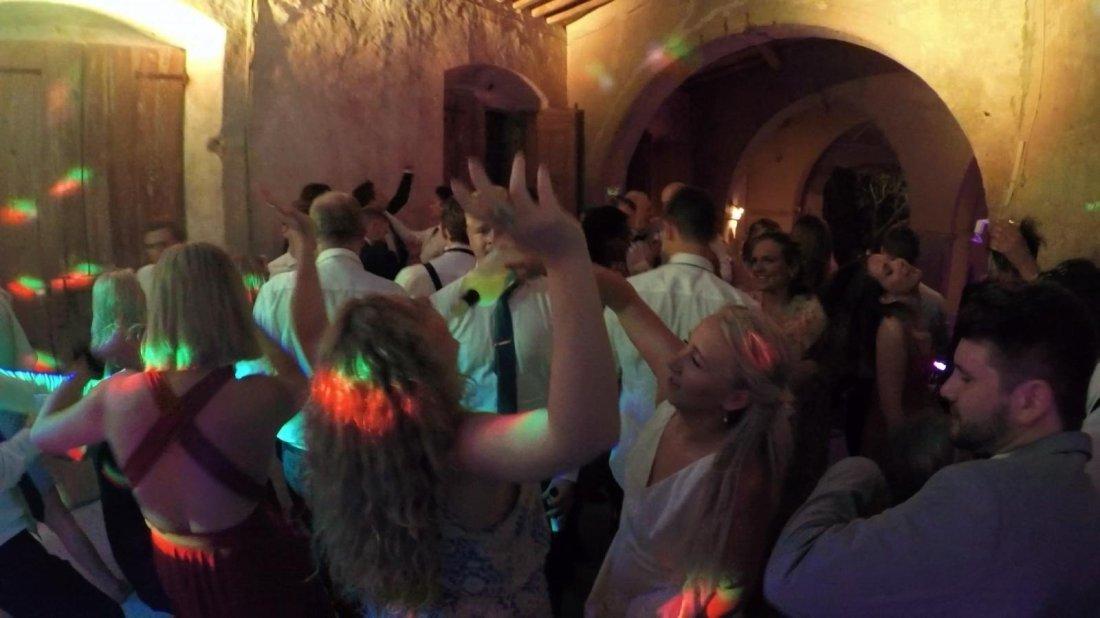 Crowd Dancing at Wedding Party Dj set