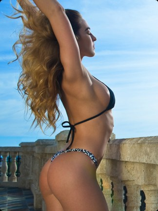 daisy black and white thong bikini