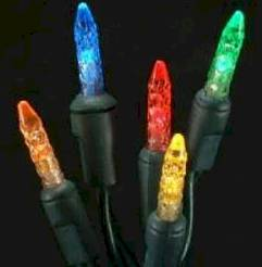 M5 70L Icicle Lights Multi GREEN WIRE