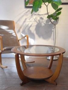 ヴィンテージ ミッドセンチュリー 北欧 イギリス製 チーク ガラストップ ローテーブル コーヒーテーブル ラウンドテーブル