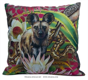 Pillow African Jungle Wild Dog