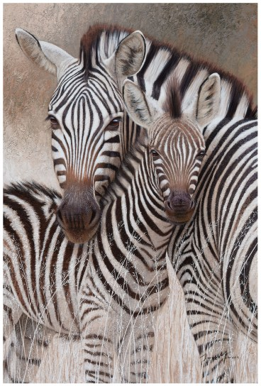 Mixed media painting of Mother Zebra with foul