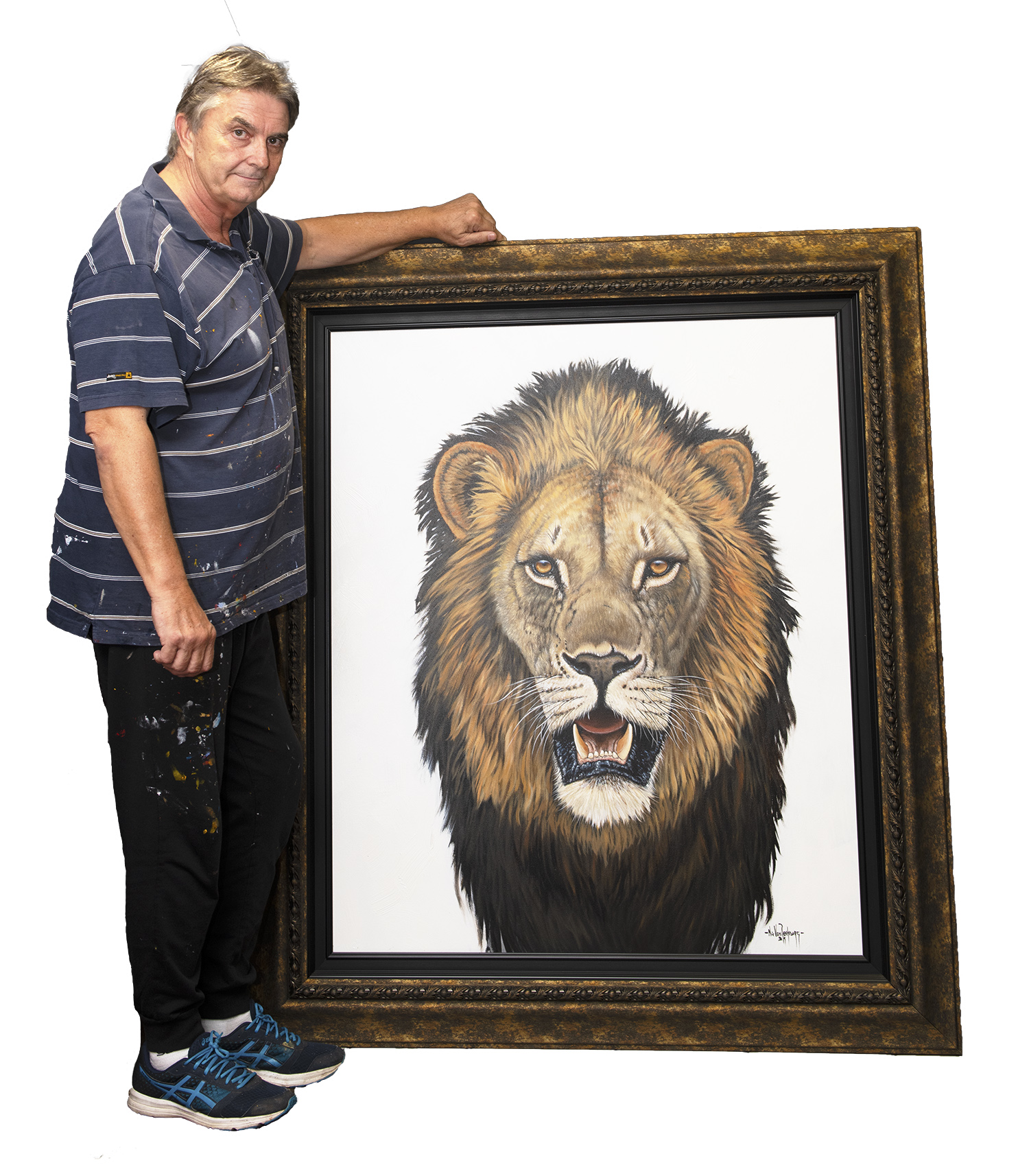 Nic van Rensburg with Lion Pride painting