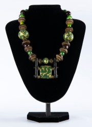 Necklace Gold and Green with Wood