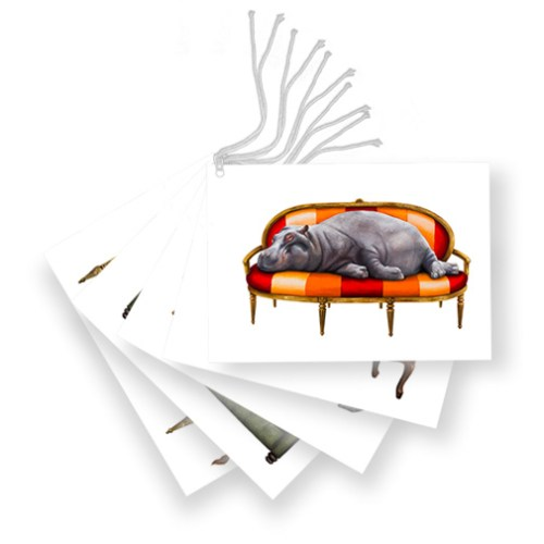Gift Tags (Set of 6) Rhino, Lion, Elephant, Cheetah, Penguins, Hippo