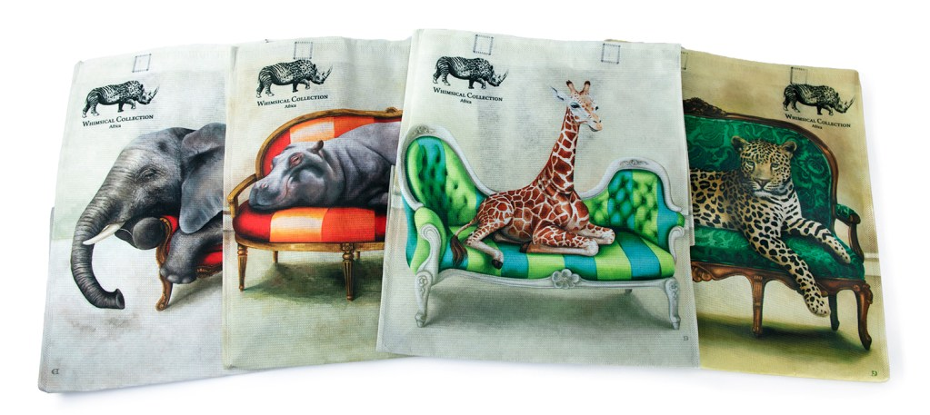 African wildlife bags made out of recycled PET bottles