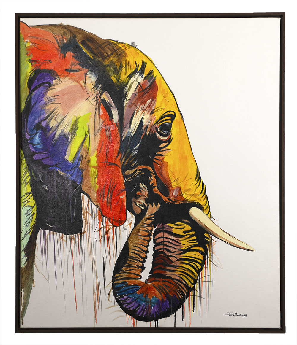 African Elephant Oil on canvas painting by Justin Mashora