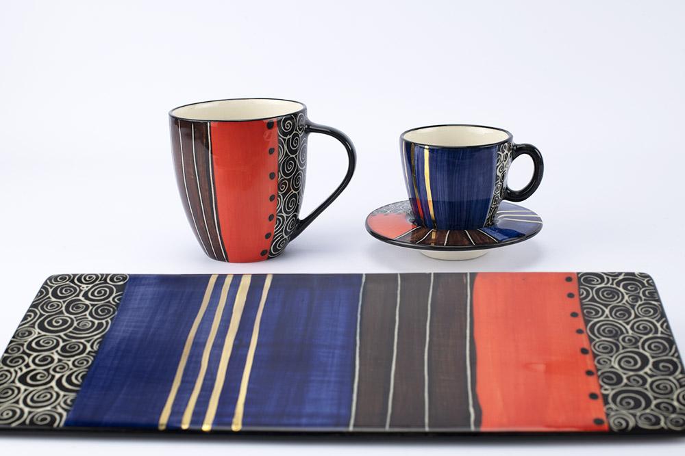 Letsopa Ceramics Hug-Mug, Cupa and Saucer and Plate Medium-Flat in Purple Orange design