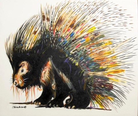 Colourful Porcupine oil on canvas painting by South African artist Justin Mashora