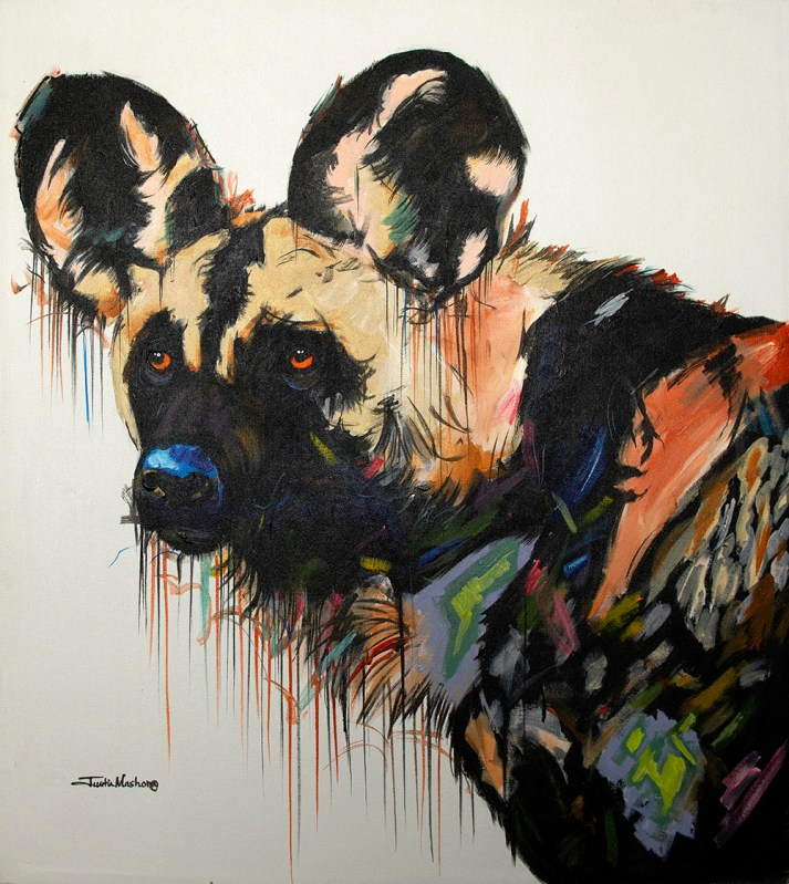 Oil on canvas painting of an African Wild Dog by Justin Mashora