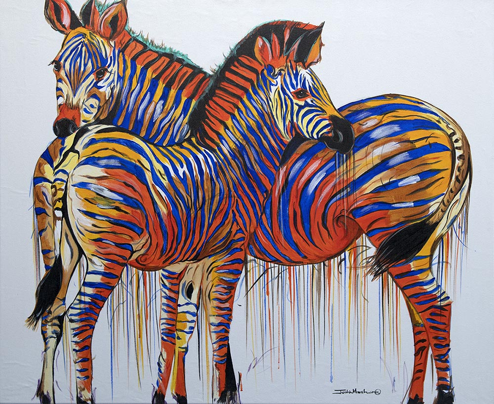 Zebra Pair oil on canvas painting by South African artist Justin Mashora