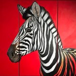 Zebra on red in three panels oil painting by South African artist Nic van Rensburg