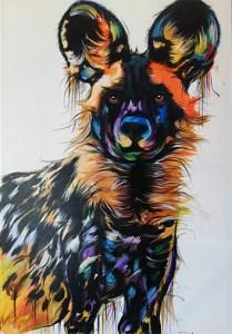 Painted dog door Justin Mashora 80x120cm