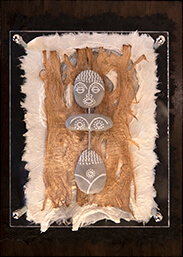 Pebble figure African grey girl decorative artwork