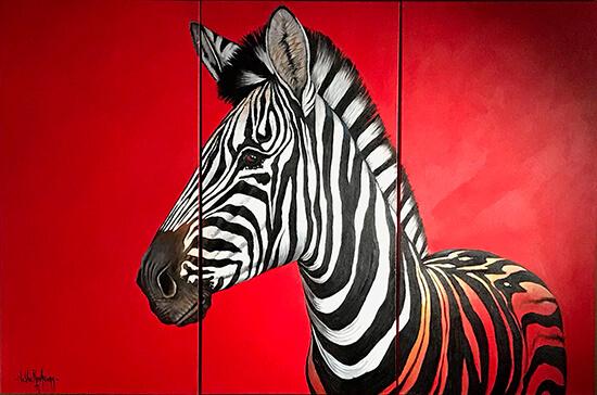 Zebra op rood schilderij gemaakt door Nic van Rensburg