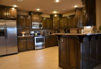 Over-Sized Kitchen with Dark Cabinets | NWA Home *For Sale ...