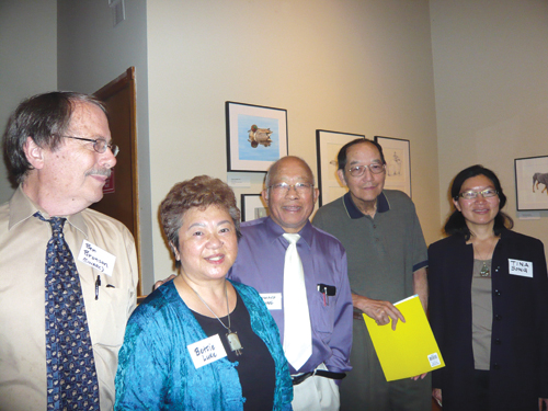 From left to right: symposium organizer Ben Bronson, attendees Bettie Luke, Howard King, Richard Kay, and Tina Song