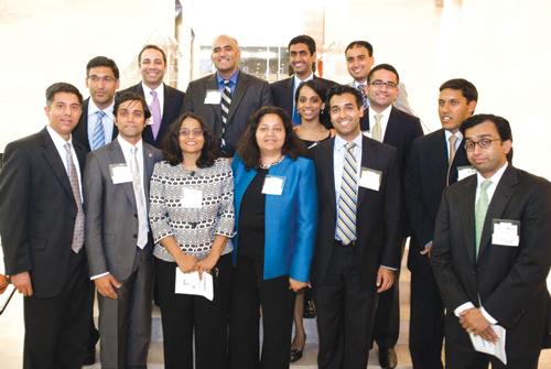 Some of the honorees: (back to front, left to right) Arif Alikhan, Shailen Bhatt, Rohit Khanna, Manu Bhardwaj, Neal Katyal, Taara (last name unknown), Gautam (last name unknown), Sunil (last name unknown), Neal Kemkar, Anju Bhargava, Preeta Bansal, Rishi Sahgal, Raj Shah, and Rajesh De.