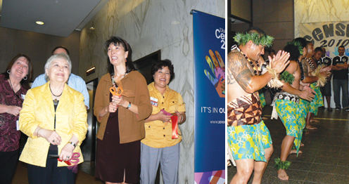 Left image: From left to right: U.S.Censusrepresentative Alice Greene, Rep. Phyllis Gutierrez Kenney, Rep. Sharon Tomiko Santos, and Shoreline Mayor Cindy Ryu at the SeattleCensusOpen House ribbon cutting ceremony. Right image: Pacific Rovers Rugby Team perform a Polynesian dance.