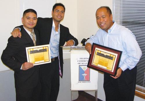 FLOW EFL nominees and winner, from left to right: Rommel E. de las Alas, Florian Purganan, and Benes Aldana.