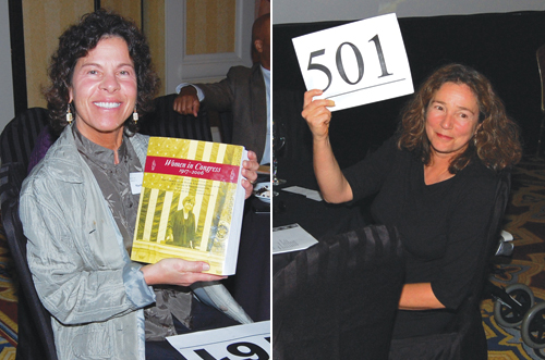 """Left: Martha Cohen-Roe donates $2,500. In return, she was gifted a copy of """"Women in Congress,"""" signed by Sen. Maria Cantwell. Right: Johanna Surla also donates $2,500."""