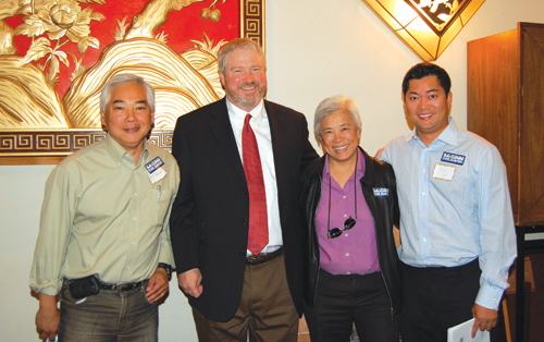Seattle Mayor-elect Mike McGinn with Asian American supporters at Sun Ya Restaurant during NWAW's mayoral candidates forum, from left: Kip Tokuda, Mike McGinn, Bihoa Caldwell, and Thao Tran.