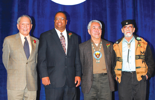 The four amigos, from left: Bob Santos, Larry Gossett, the late Bernie Whitebear's brother Lawney Reyes (standing in for Whitebear), and Roberto Maestas