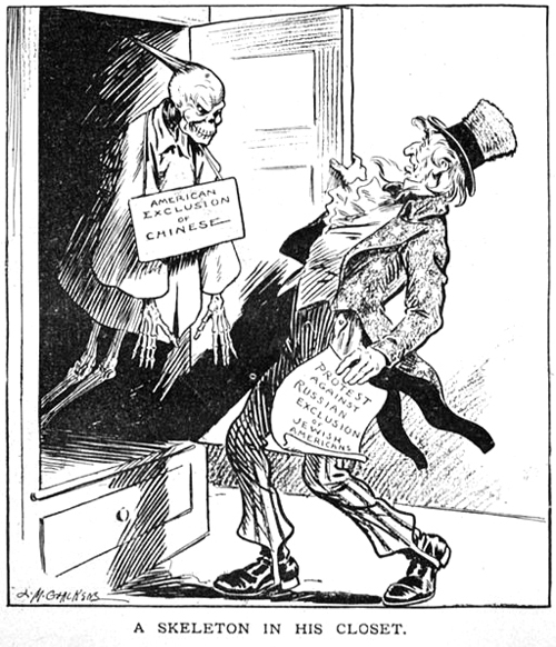 "The Chinese Exclusion Act proved to be an embarrassment for Uncle Sam:  ""A Skeleton in His Closet,"" by L.M. Glackens, published in Puck magazine on Jan. 3, 1912. Uncle Sam holding paper ""Protest against Russian exclusion of Jewish Americans"" and looking in shock at Chinese skeleton labeled ""American exclusion of Chinese"" in closet. Image from NorthwestAsianWeekly.com"