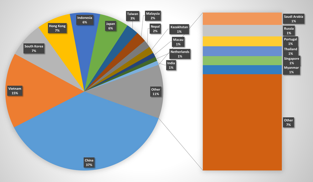 Breakdown of student enrollment by country (Image by Han Bui/NWAW)