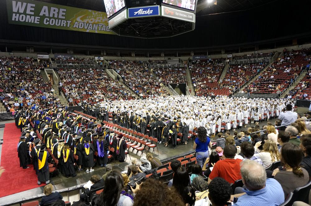 June 18 graduation ceremony for Bellevue College at KeyArena.