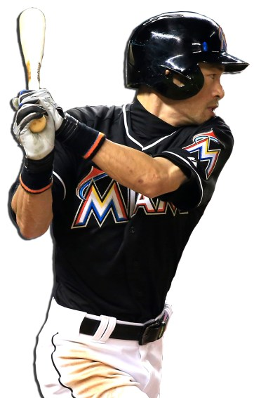 Sep 12, 2015; Miami, FL, USA; Miami Marlins right fielder Ichiro Suzuki singles in the sixth inning in a game against the Washington Nationals at Marlins Park. The Marlins won 2-0. Mandatory Credit: Robert Mayer-USA TODAY Sports