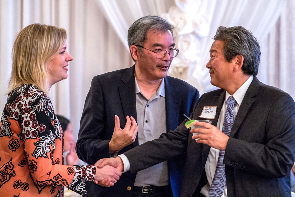 From left: Chinatown-International District Business Improvement Area Executive Director Jessa Timmer, ‎Vice President & External Affairs Manager for Union Bank (event sponsor) Tim Otani, and Neighborhood House Executive Director Mark Okazaki.