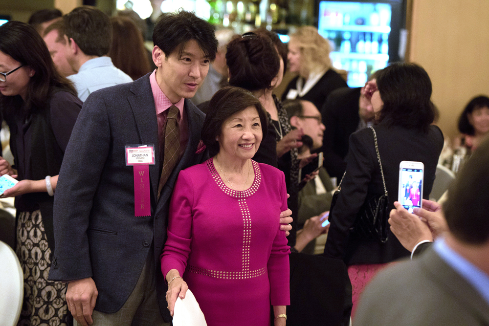 Honoree Jonathan Sposato with his mom, Helena Eng.
