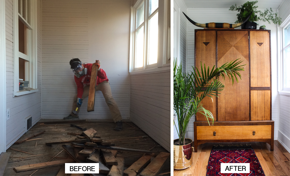 Before and after shots of a Columbia City house that Jessica Louie and Alex Vo are restoring (Photo provided by Hudson House)