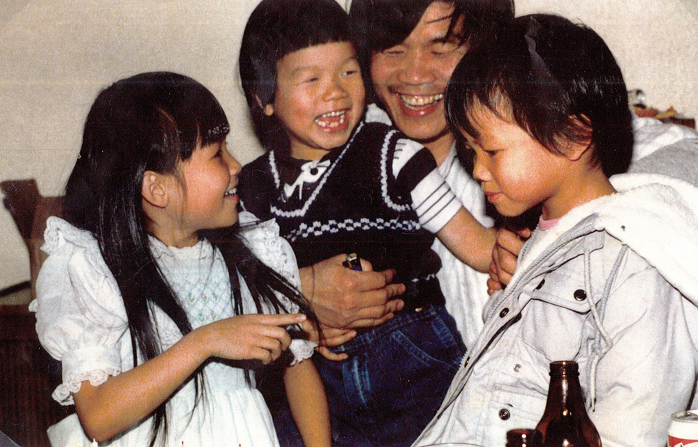 Kim Pham with his children, in the 1990s, from left: Julie, Don, and Andy (Photo from Julie Pham)