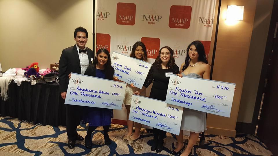 Scholarship Chair, Brian Nguyen poses with scholarship winners Karishama Vahora, Linh Tran, Makenzie Kinsella and Kristin Tan. (Photo by Katie Lai/AWAKE)