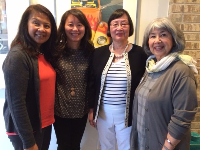 From left: Rosie Abriam, former CAPAW director, Courtney Chappell, director, Leslie Moe-Kaiser, co-chair, and Joan Yoshitomi, co-chair. (Photo by Assunta Ng/NWAW)