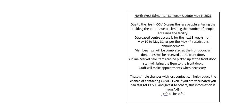 May 6, 2021 COVID Centre Update
