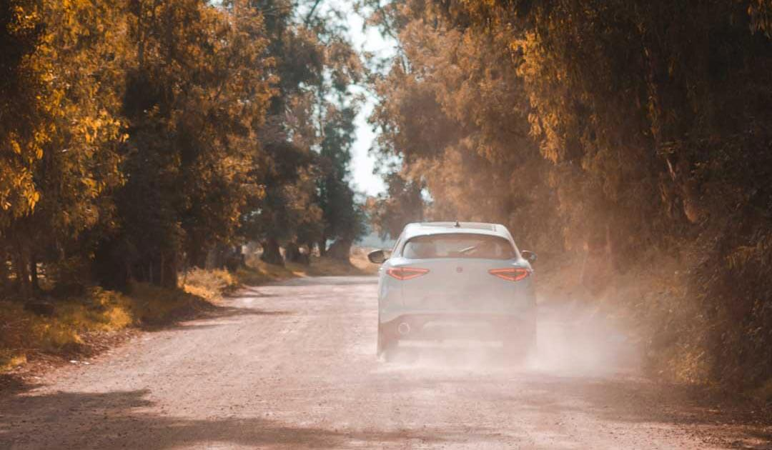 Car driving down dirt road during hot summer day. Dry trees surround the car on both sides as it kicks up dust from the road.