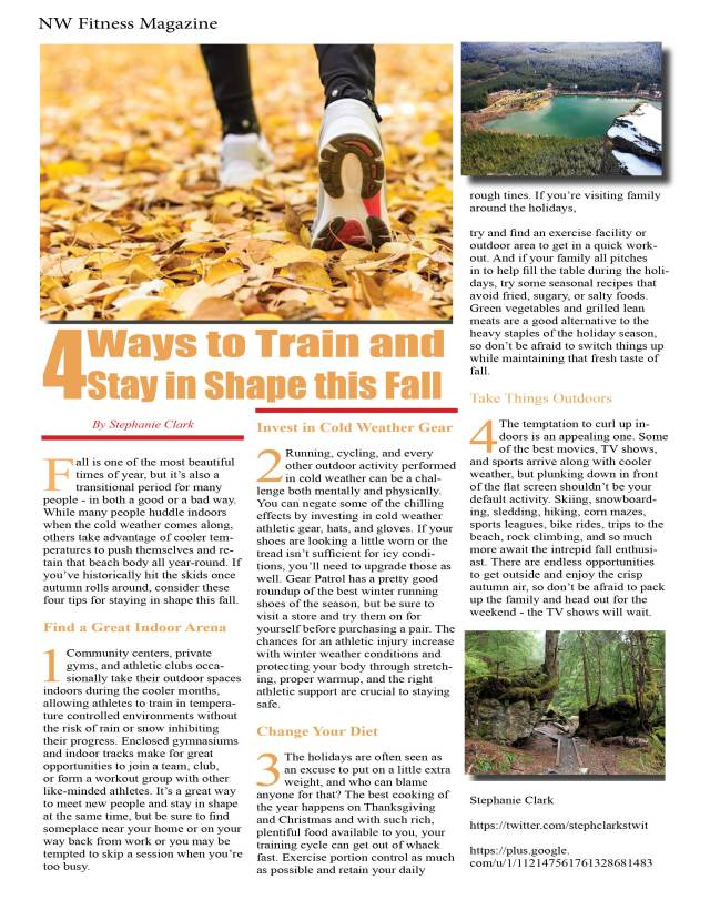 4 Ways to Train and Stay in Shape this Fall By Stephanie Clark NW Fitness Magazine.