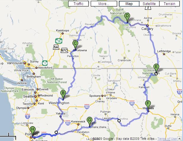 Canada & Glacier Road Test Route