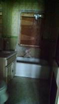 The main floor bathroom walls were damaged.